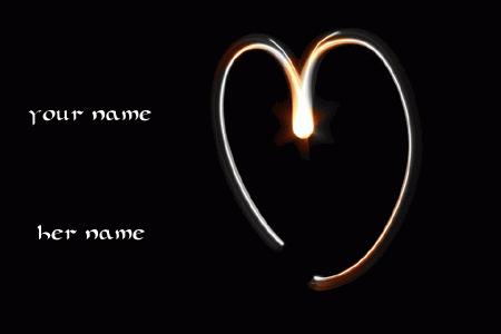 Photo of write your names on lighting love heart gif image