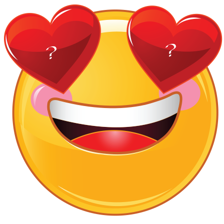 Photo of write a character on smiley with heart shaped eyes image
