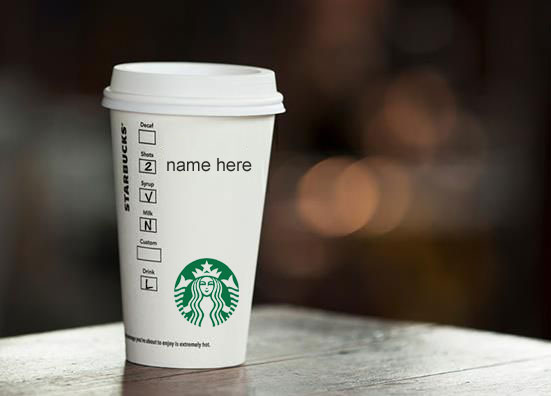 Photo of write your name on starbucks coffe cup