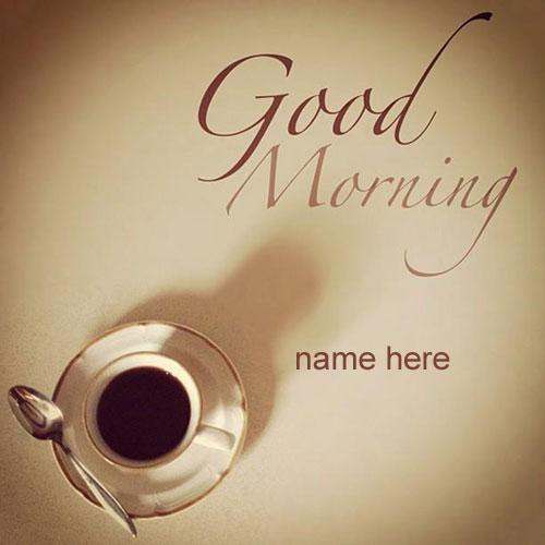 Photo of write name on wishing good morning card