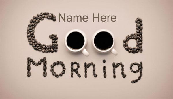 Photo of write name on good morning coffe