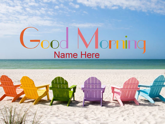 Photo of write name on good morning Warm air beach