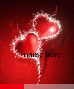 Photo of Write name on two red hearts animated gif