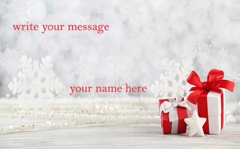 Photo of write your name and your message on gif christmas gift gif card