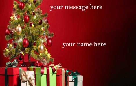 Photo of write your name and your message on gif christmas Tree gif card