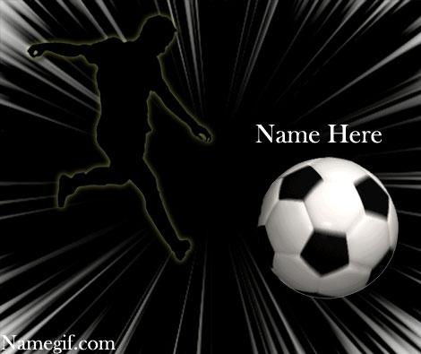 Photo of write name on gif shooting soccer ball