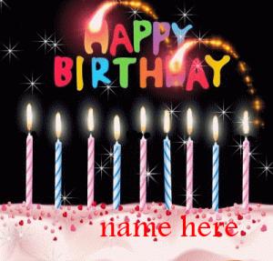 Photo of write name on Happy birthday cake gif