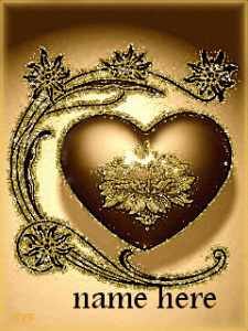 Photo of Write name on animated golden heart