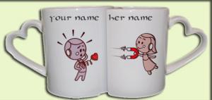 Photo of write your names on robots lovers mug