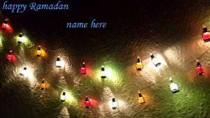 Photo of write your name on happy Ramadan gif photo