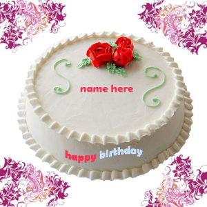 Photo of write name on birthday cake gif image white cake