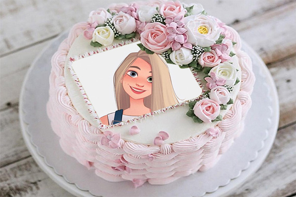 Happy Birthday Cake Photo Frame cream and roses decoration - Happy Birthday Cake Photo Frame cream and roses decoration