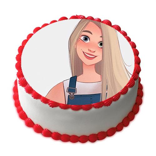 Happy birthday cake Photo Frame white cream and red hearts - Happy birthday cake Photo Frame white cream and red hearts