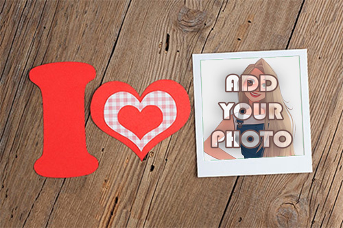 I love you with decorated heart Romantic photo frame - I love you with decorated heart Romantic photo frame