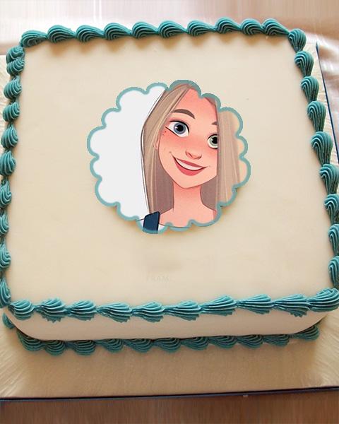 Photo frame happy birthday cake large white cream cake - Photo frame happy birthday cake large white cream cake