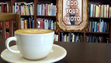 Photo of coffee at library mug photo frame