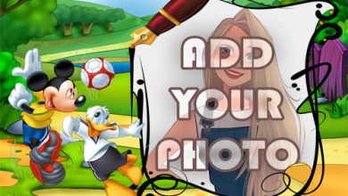 Photo of donald duck and mickey playing ball kids cartoon photo frame