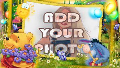 Photo of flowers of winnie the pooh kids cartoon photo frame