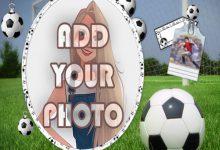 Photo of football player kids cartoon photo frame