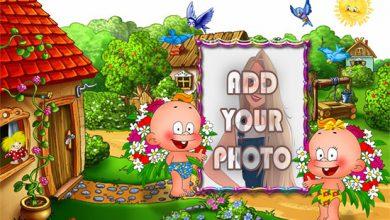Photo of funny kids in garden kids cartoon photo frame