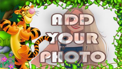 Photo of funny tiger in woods kids cartoon photo frame
