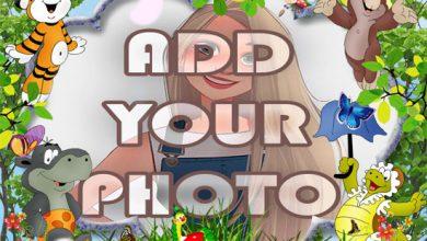 Photo of garden animals kids cartoon photo frame