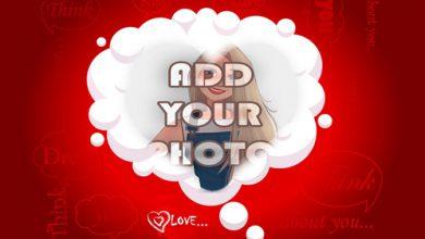 Photo of romantic cloud heart shape Romantic photo frame
