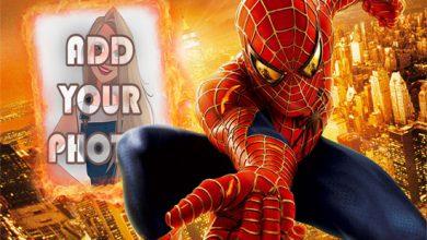 Photo of spider man in fire kids cartoon photo frame