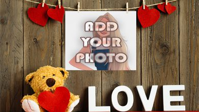 Photo of the love wall with teddy bear Romantic photo frame