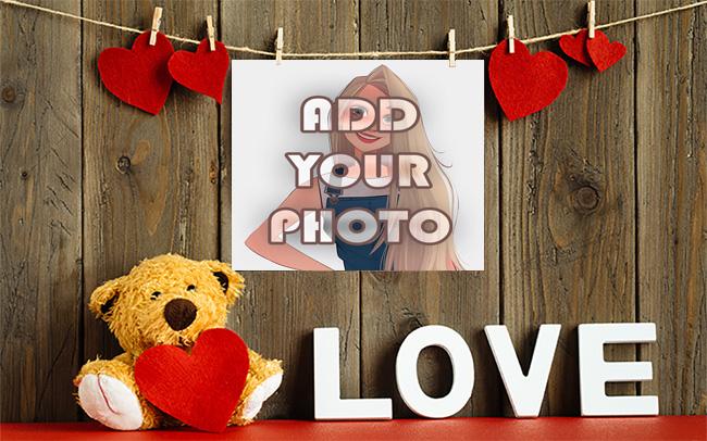 the love wall with teddy bear Romantic photo frame - the love wall with teddy bear Romantic photo frame