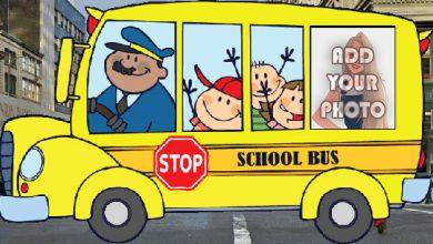Photo of yellow school bus kids cartoon photo frame